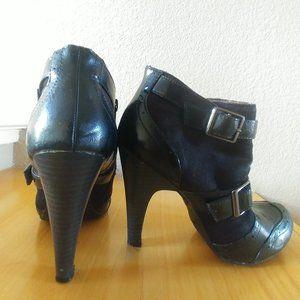 5.5 Black Ankle Boots Ellemenno Buckles 4inch Heel